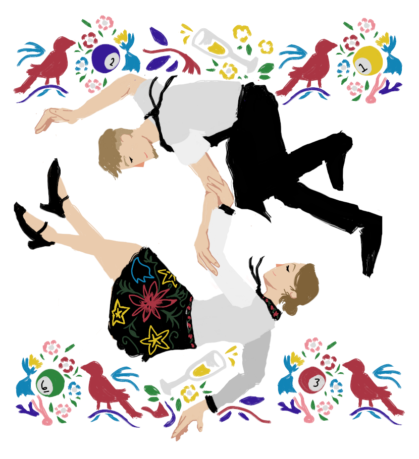 I faint I faint I faint: The image shows two young hospitality workers dancing raucously between two decorative borders made out of folk art style birds, flowers, pool balls, and champagne glasses.