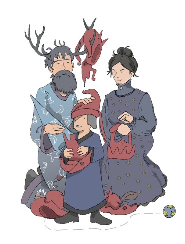 A child version of the Golux from James Thurber's 13 Clocks is framed by his mother and father, who are looking at him with obvious parental tenderness (or, in his mother's case, what passes as tenderness if you are a witch). He is wearing his signature indescribable hat from the original book, but he is also holding another indescribable hat in his hands. There are other hats (all intended to defy description) strewn all over the ground. One is hanging from the Golux's father's antlers. A small ball, decorated with yellow stars, rolls towards the right hand side of the image.