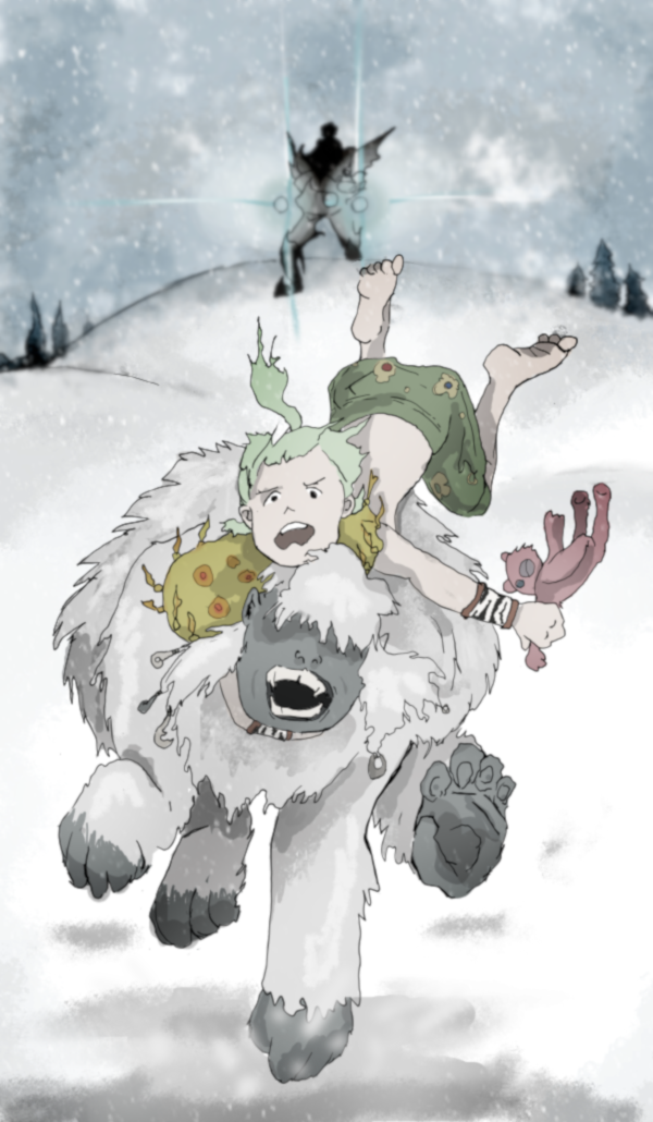 Gau from Final Fantasy 6 rides Umaro the Sasquatch while clutching a red, ragged teddy bear in one hand. They two of them are careening wildly down a snowy set of hills while a piece of imperial MagiTek armor charges its lasers in the background.